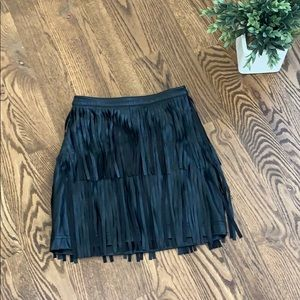Divided Black Pleather Fringed Mini Skirt